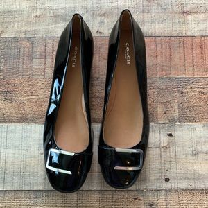 New Black Coach Buckle Flats